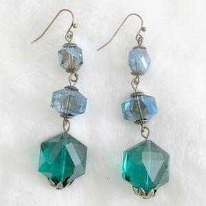 Blue Green Crystal Cut Resin Drop Earrings